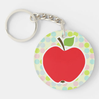 Pastel Colors, Polka Dot; Apple Double-Sided Round Acrylic Key Ring
