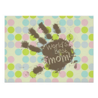 Pastel Colors Polka Dot Funny Mom Posters