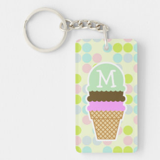 Pastel Colors, Polka Dot; Ice Cream Cone Double-Sided Rectangular Acrylic Key Ring