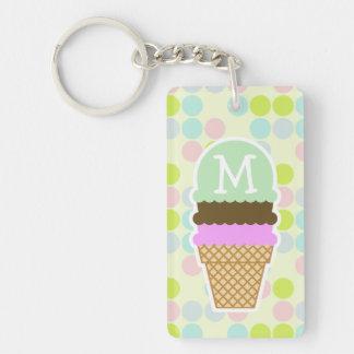 Pastel Colors, Polka Dot; Ice Cream Cone Key Ring