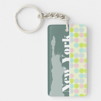 Pastel Colors Polka Dot NYC statue of liberty Rectangle Acrylic Keychains