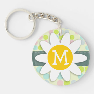 Pastel Colors, Polka Dot; Spring Flower Double-Sided Round Acrylic Key Ring