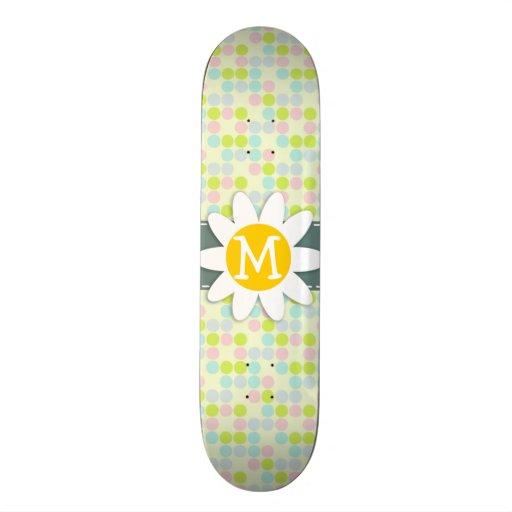 Pastel Colors, Polka Dot; Spring Flower Skateboard Deck