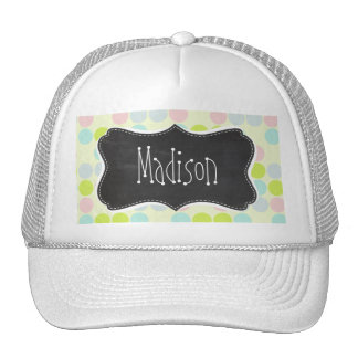Pastel Colors Polka Dot Vintage Chalkboard Hats