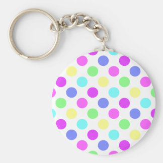 Pastel Colors Polka Dots Basic Round Button Key Ring