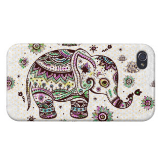 Pastel Colors Retro Flowers & Elephant iPhone 4/4S Case