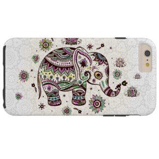 Pastel Colors Retro Flowers & Elephant Tough iPhone 6 Plus Case