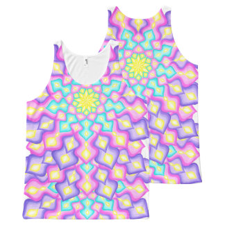 Pastel Colors Spring Blossom Mandala Pattern All-Over Print Tank Top