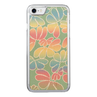 Pastel Colors Whimsical Ikat Floral Doodle Pattern Carved iPhone 8/7 Case