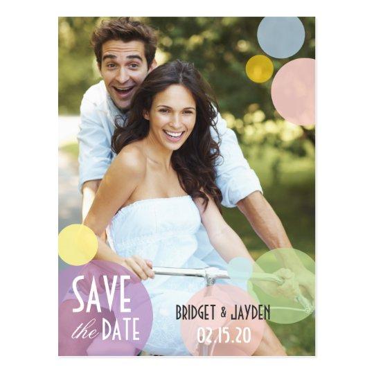 Pastel Colour Bubbles Photo Save the Date Postcard