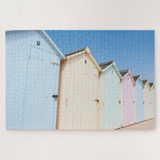 Pastel Coloured Beach Huts 1014 Piece Puzzle