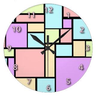 Pastel coloured cubism pattern large clock