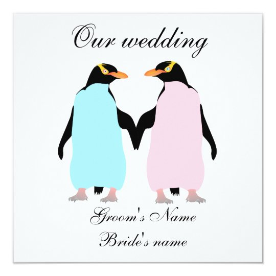 Pastel coloured penguins wedding invitation