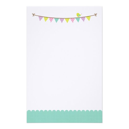 Pastel Colours Patterned Bunting and Cute Bird Stationery