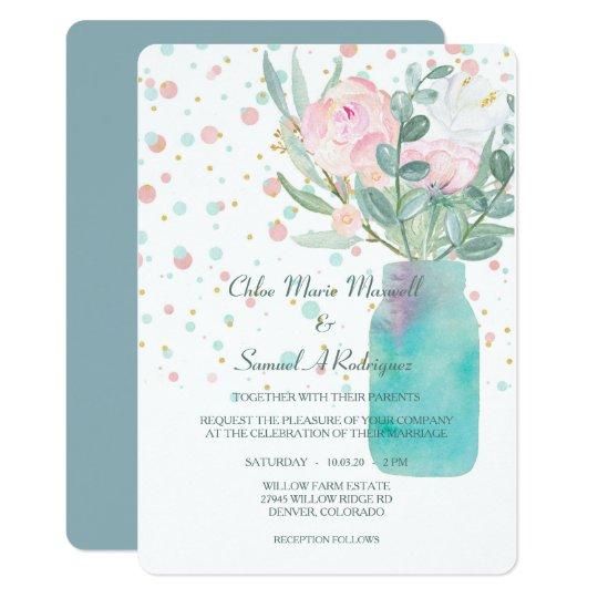Pastel Confetti Mason Jar Flowers Wedding Card