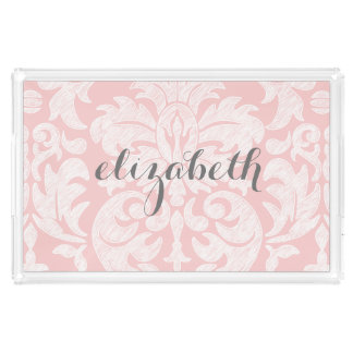 Pastel Coral and Gray Damask Suite for Women