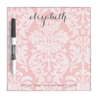 Pastel Coral and Gray Damask Suite for Women Dry Erase Board