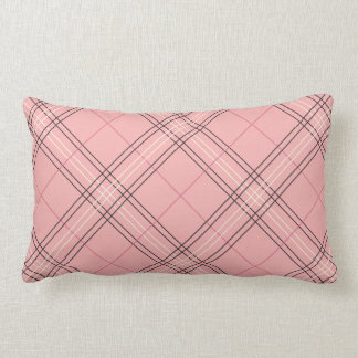 Pastel Coral Peach Pink Tartan Plaid Check Pattern Lumbar Cushion