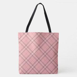 Pastel Coral Peach Pink Tartan Plaid Pattern Tote Bag