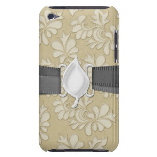 pastel cream leaf swirl damask barely there iPod covers