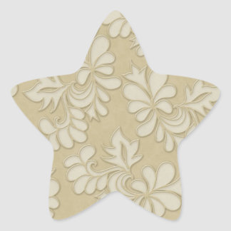 pastel cream leaf swirl damask stickers