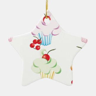 Pastel Cute Cupcakes Ceramic Star Decoration