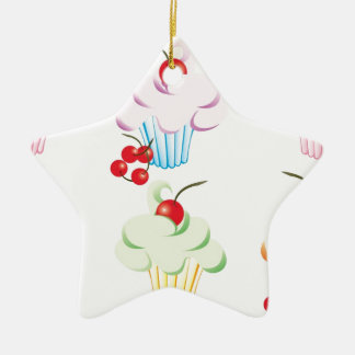 Pastel Cute Cupcakes Christmas Ornament