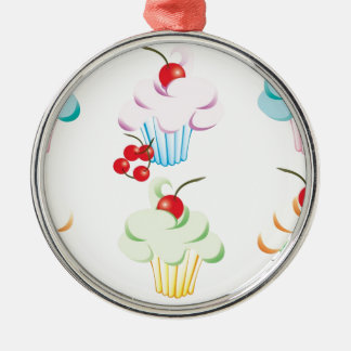 Pastel Cute Cupcakes Silver-Colored Round Decoration