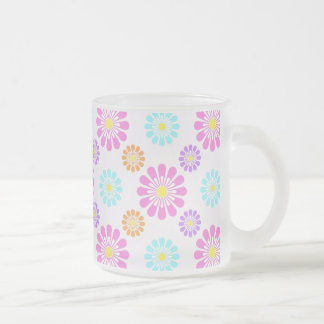 Pastel Daisies Frosted Glass Mug