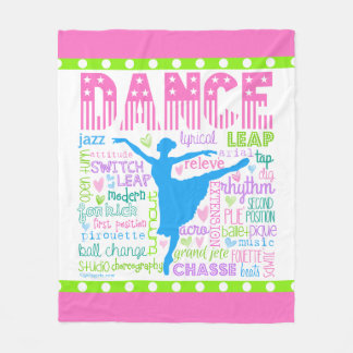 Pastel Dancer Words Typography Fleece Blanket