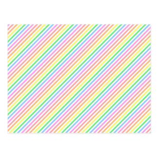 Pastel Diagonal Stripes Postcard