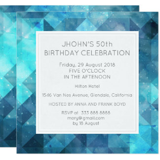 Pastel Diamond Geometric Birthday Party Blue 13 Cm X 13 Cm Square Invitation Card