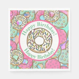 Pastel Donuts Happy Birthday Paper Napkin