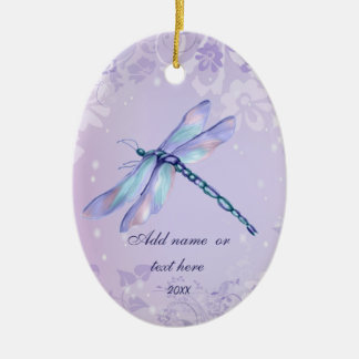 Pastel Dragonfly Ceramic Oval Decoration