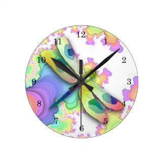 Pastel Dragonfly Clock
