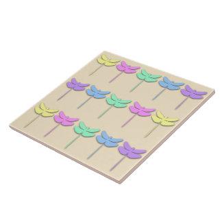 Pastel Dragonfly Pattern Tile/Trivet Large Square Tile