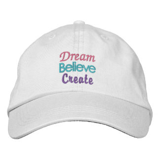 Pastel Dream Believe Create Embroidered Hat