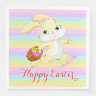 Pastel Easter Bunny Happy Easter Napkins Disposable Napkin