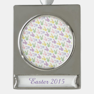 Pastel Easter Bunny Heads Silver Plated Banner Ornament