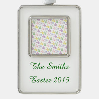Pastel Easter Bunny Heads Silver Plated Framed Ornament