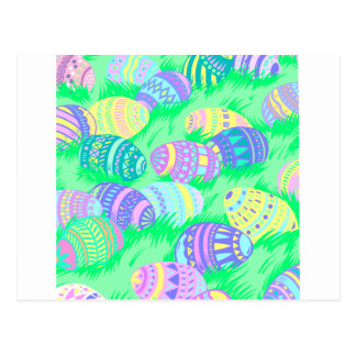 Pastel Easter Eggs in Grass Postcard