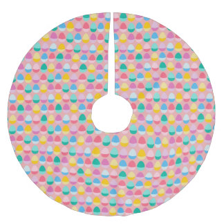 Pastel Easter Eggs Two-Toned Multi on Blush Pink Brushed Polyester Tree Skirt