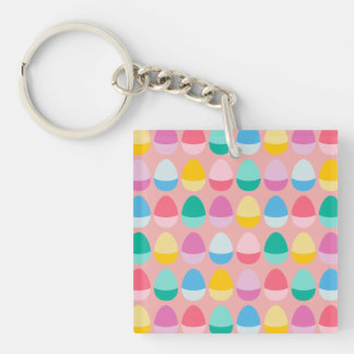 Pastel Easter Eggs Two-Toned Multi on Blush Pink Double-Sided Square Acrylic Key Ring