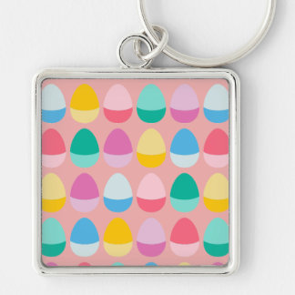 Pastel Easter Eggs Two-Toned Multi on Blush Pink Silver-Colored Square Keychain