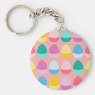 Pastel Easter Eggs Two-Toned Multi on Blush Pink Basic Round Button Keychain
