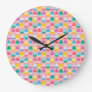 Pastel Easter Eggs Two-Toned Multi on Blush Pink Large Clock