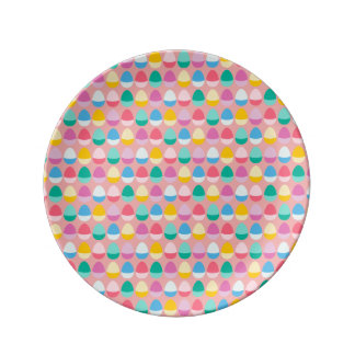Pastel Easter Eggs Two-Toned Multi on Blush Pink Plate