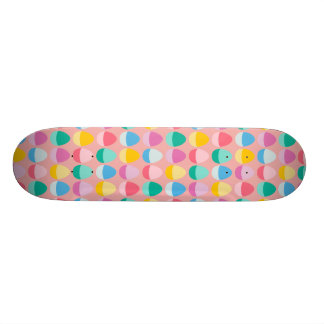 Pastel Easter Eggs Two-Toned Multi on Blush Pink Skateboard