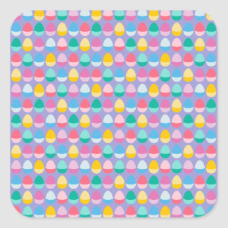 Pastel Easter Eggs Two-Toned Multi on Lilac Square Sticker