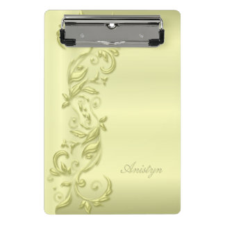 Pastel Elegant Yellow Ornate Design Mini Clipboard